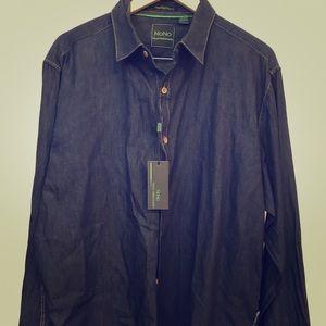 Men's blue jean long sleeve shirt.